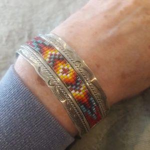 Vintage Sterling Seed Bead Signed Cuff Bracelet